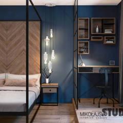 Niebieska sypialnia: styl , w kategorii Sypialnia zaprojektowany przez MIKOŁAJSKAstudio