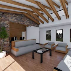 CASA AN: Livings de estilo  por EjeSuR Arquitectura, Rural