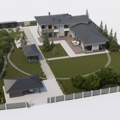 Современный удобный дом: Дома в . Автор – Компания архитекторов Латышевых 'Мечты сбываются'