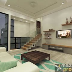 ESTANCIA FAMILIAR: Salas multimedia de estilo  por Mazpro Arquitectura