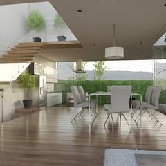 Vista Ingreso: Pasillos y recibidores de estilo  por 21arquitectos