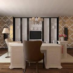 Загородный дом из белёного бруса: Рабочие кабинеты в . Автор – ARTWAY центр профессиональных дизайнеров и строителей