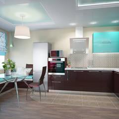Бирюза в шоколаде: Встроенные кухни в . Автор – ARTWAY центр профессиональных дизайнеров и строителей