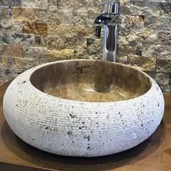 Kepez Yapı Market – Doğaltaş Lavabo Ve Mozaikler: rustik tarz tarz Banyo