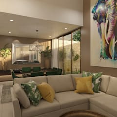 Villas T: Salas / recibidores de estilo  por Taller Interno,