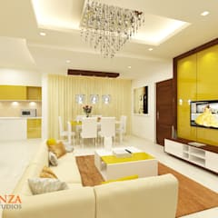 Jain Heights Apartment Interiors, Bangalore.:  Living room by Kredenza Interior Studios,Modern