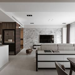 富宇 泰和 新婚宅:  客廳 by 賀澤室內設計 HOZO_interior_design