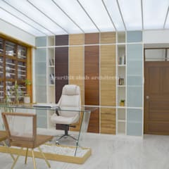 Architect's Office and Home @ Sarvodaya First Floor: minimalistic Study/office by prarthit shah architects