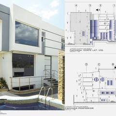 Fachada Frontal-Lateral (Este-Sur): Casas de estilo  por Eisen Arquitecto