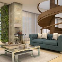 Penthouse CT30: Salas multimedia de estilo  por CONTRASTE INTERIOR,