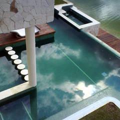 alberca y lago: Albercas de estilo  por sanmartiarquitectos