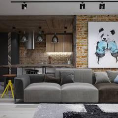 : Salas de estilo industrial por Interior designers Pavel and Svetlana Alekseeva