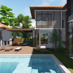 CASA NA ENSEADA DO CASTELO: Piscinas minimalistas por orlando barros arquitetura