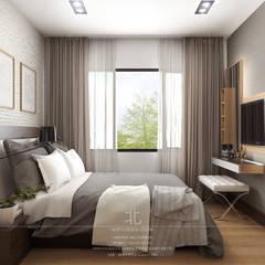 ตกแต่งภายในห้องพัก The Astra Condo:  ห้องนอน by เหนือ ดีไซน์ สตูดิโอ (North Design Studio)