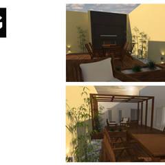 DISEÑO EXTERIOR JC: Jardines de invierno de estilo  por FG ARQUITECTURA E INTERIORISMO,Moderno