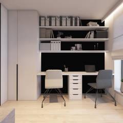 Mieszkanie z marmurem, Katowice 80 m2: styl , w kategorii Domowe biuro i gabinet zaprojektowany przez TIKA