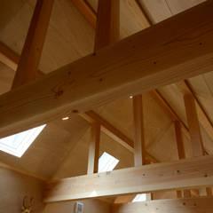 またしたニャーの家: 風景のある家.LLCが手掛けた寝室です。,インダストリアル 木 木目調