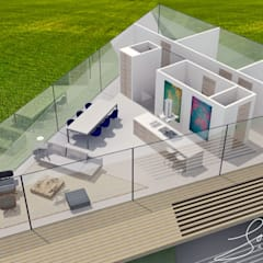 Impressie indeling woonverdieping 3D vogelvlucht: moderne Woonkamer door Schneijderberg Architectuur & Design