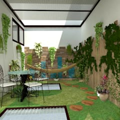 patio interior: Jardines de estilo moderno por JELKH Design Architects s.a.s