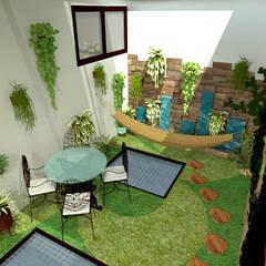 patio interior: Jardines de estilo  por JELKH Design Architects s.a.s