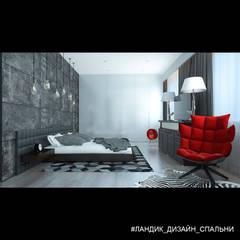 Агрессивный дизайн квартиры для уверенного в себе мужчины: Спальни в . Автор – LANDIK INTERIOR DESIGN
