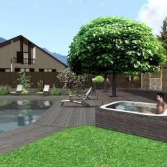 Un spa intégré: Spa de style de style Moderne par Anthemis Bureau d'Etude Paysage