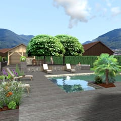 Pool by Anthemis Bureau d'Etude Paysage, Modern