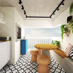 Apartamento Essence: Terraços  por Daniela Simões Arquitetura e Interiores