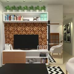 Reforma Apartamento R.A.: Salas de estar  por Atelie 3 Arquitetura