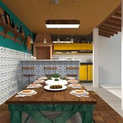 Área de churrasco: Cozinhas  por Atelie 3 Arquitetura