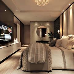 Apartamento de Luxo em Balneário Camboriú - Suíte Master: Quartos  por Flávia Kloss Arquitetura de Interiores,Moderno MDF