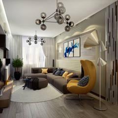 Проект 3-х комнатной квартиры в современном стиле: Гостиная в . Автор – Инна Михайская