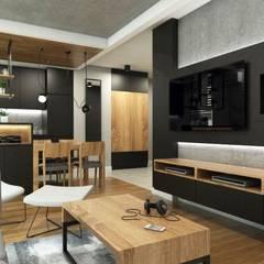 Salon z kuchnią w minimalistycznym i ciepłym charakterze: styl , w kategorii Salon zaprojektowany przez MONOstudio