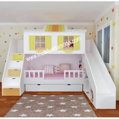 MOBİLYADA MODA  – Özel Tasarım Kaydıraklı Ev Ranza, Pelin'in Ranzası :  tarz Çocuk Odası