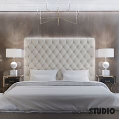 Luksusowy apartament w Monachium Eklektyczna sypialnia od MIKOŁAJSKAstudio Eklektyczny
