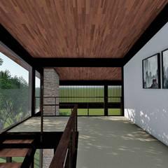 ARQUITETURA RESIDENCIAL ESTRUTURA METÁLICA CAPITAL VILLE Corredores, halls e escadas tropicais por Aresto Arquitetura Tropical