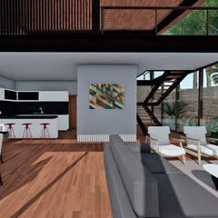 ARQUITETURA RESIDENCIAL ESTRUTURA METÁLICA CAPITAL VILLE: Cozinhas tropicais por Aresto Arquitetura