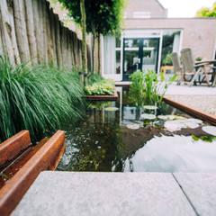 Groene stadstuin met compacte vijver:  Tuin door Buro Buitenom exterieurontwerpers,