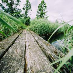 Brug van grove houten palen: landelijke Tuin door Buro Buitenom exterieurontwerpers