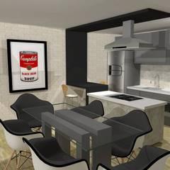 Residência Salas de jantar industriais por Maria Eduarda Reis Interiores Industrial Tijolo