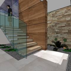 Townhouse en Cúa.: Pasillos y vestíbulos de estilo  por MARATEA Estudio, Moderno Mármol