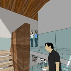 Townhouse en Cúa.: Pasillos y vestíbulos de estilo  por MARATEA Estudio, Moderno Vidrio