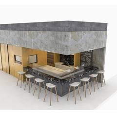 VISTA EXTERIOR FRONTAL : Restaurantes de estilo  por ARKTRES