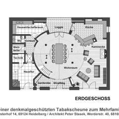 Umbau einer denkmalgeschützten Tabakscheune - Grundriss EG:  Wände von Peter Stasek Architects - Corporate Architecture