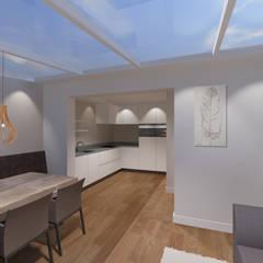 3d impressie 4 serre: moderne Serre door Anne-Carien Interieurarchitect