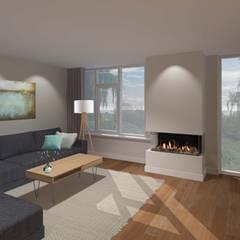 3d impressie 1 woonkamer:  Woonkamer door Anne-Carien Interieurarchitect