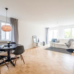 http://homestaging-geschka.de/galleries/gallery-home-staging/eigentumswohnung-platz-und-wohnpotential-wird-aufgezeigt/: skandinavische Esszimmer von Münchner home staging Agentur GESCHKA