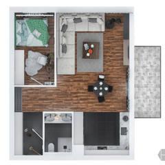 Projekt mieszkania 60 m2.: styl , w kategorii Ściany zaprojektowany przez hexaform