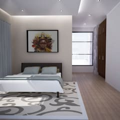 House Mbaga:  Bedroom by A4AC Architects, Modern Bricks