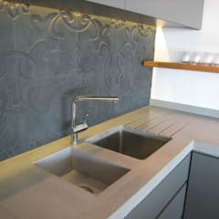Combines stainless and integrated concrete sink:  Kitchen by Stoneform Concrete Studios
